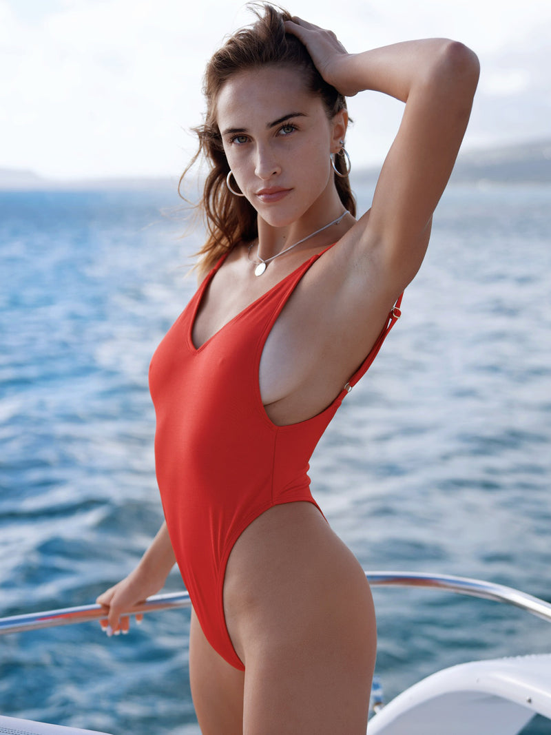 Pretty Girl One-Piece / Shiny Red