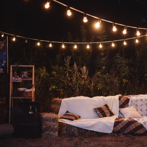outdoor space with string lights and couch