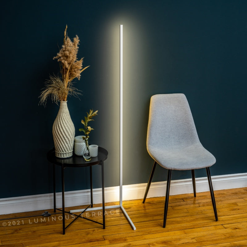 Dawn Ambiance LED Floor Lamp white by the chair Luminous Terrace