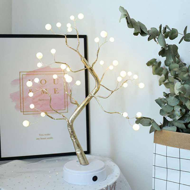 Decorative table lamp pearl tree on side table