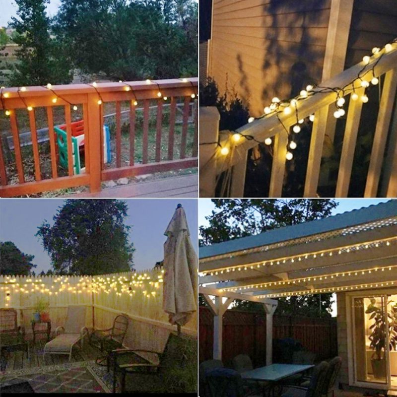 Stellar Gold Solar globe LED string lights in patio porch deck