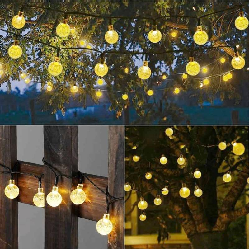 Stellar Gold Solar globe LED string lights in various gardens