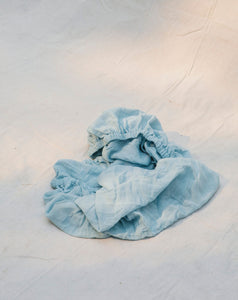 cotton cot sheet in moon - fitted cot sheet australia - light blue cot sheet - moon cot sheet by taninaka