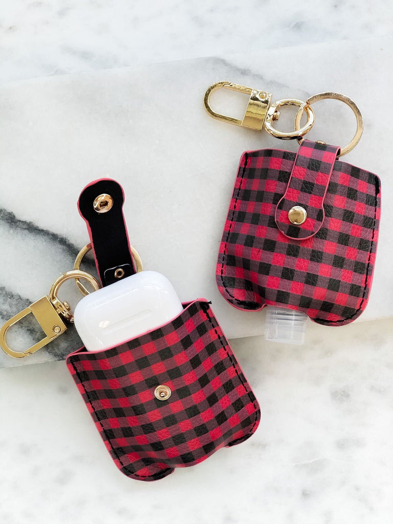 Hand Sanitizer & Air Pod Case Key Chain in Red/Black Buffalo Check