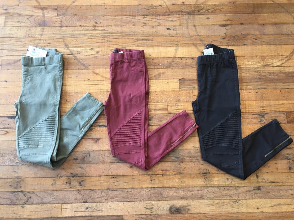 Moto Jeggings in Olive, Burgundy, and Black