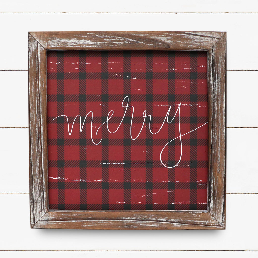 Merry Plaid Wood Sign
