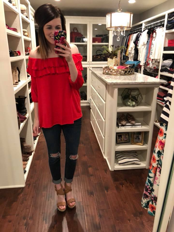 Red Hot Off-The-Shoulder Top