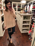 Camille Cold Shoulder Sweater in Pink, Cream, and Blue