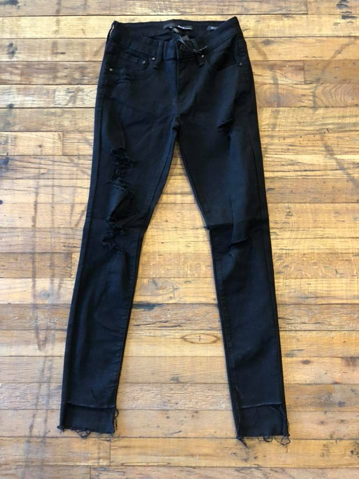 Tara Distressed Black Step Hem Jeans