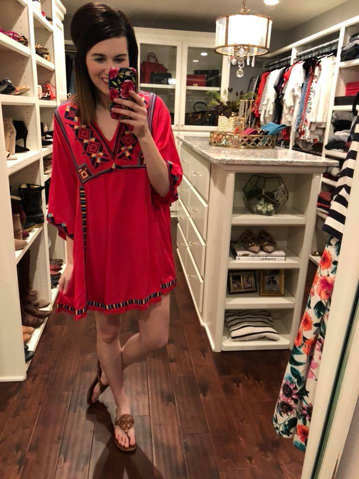 Tropical Destination Tunic in Red and White