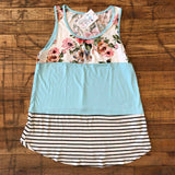*BELLES & STEALS* Blossom Tank in Blue and Pink