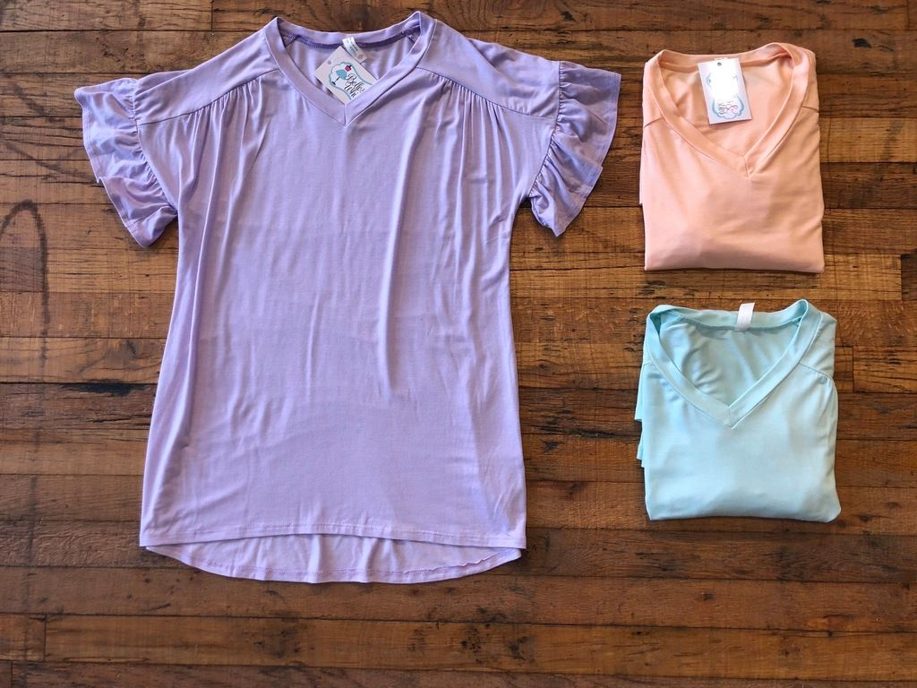 SALE! Evyn Top in Lilac, Peach, and Mint