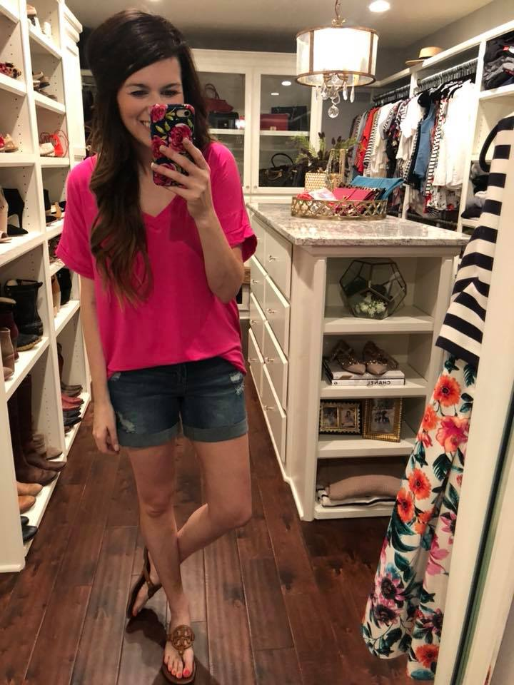 Basic V-Neck Tee in Kelly Green and Fuchsia