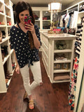 SALE! Makenna Polka Dot Tie Front Top in Navy and White