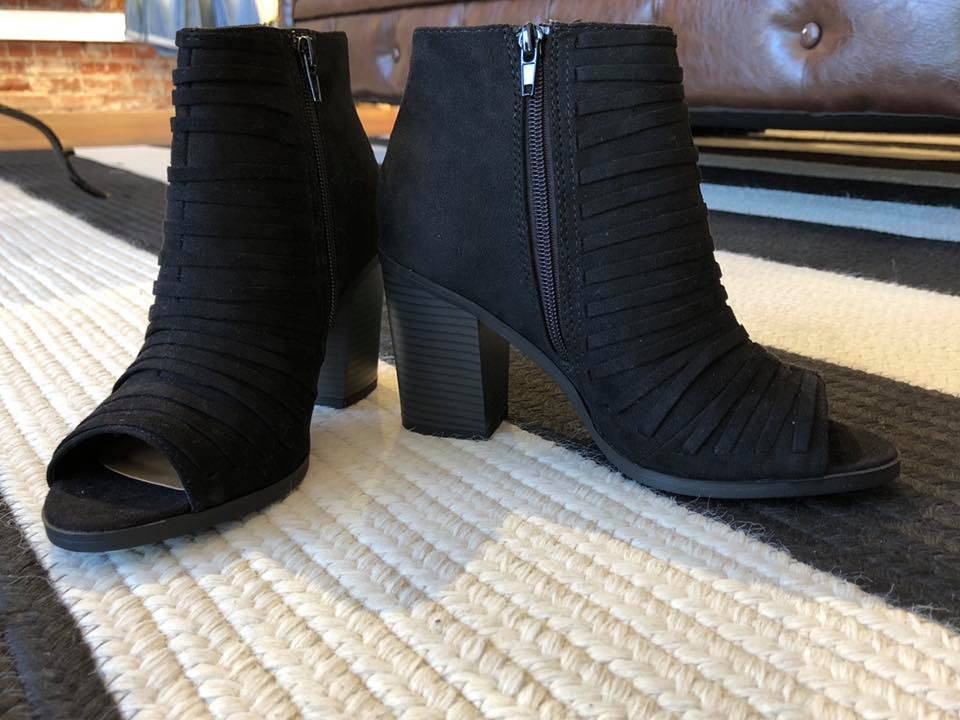SALE!  Saylor Open Toe Booties in Black