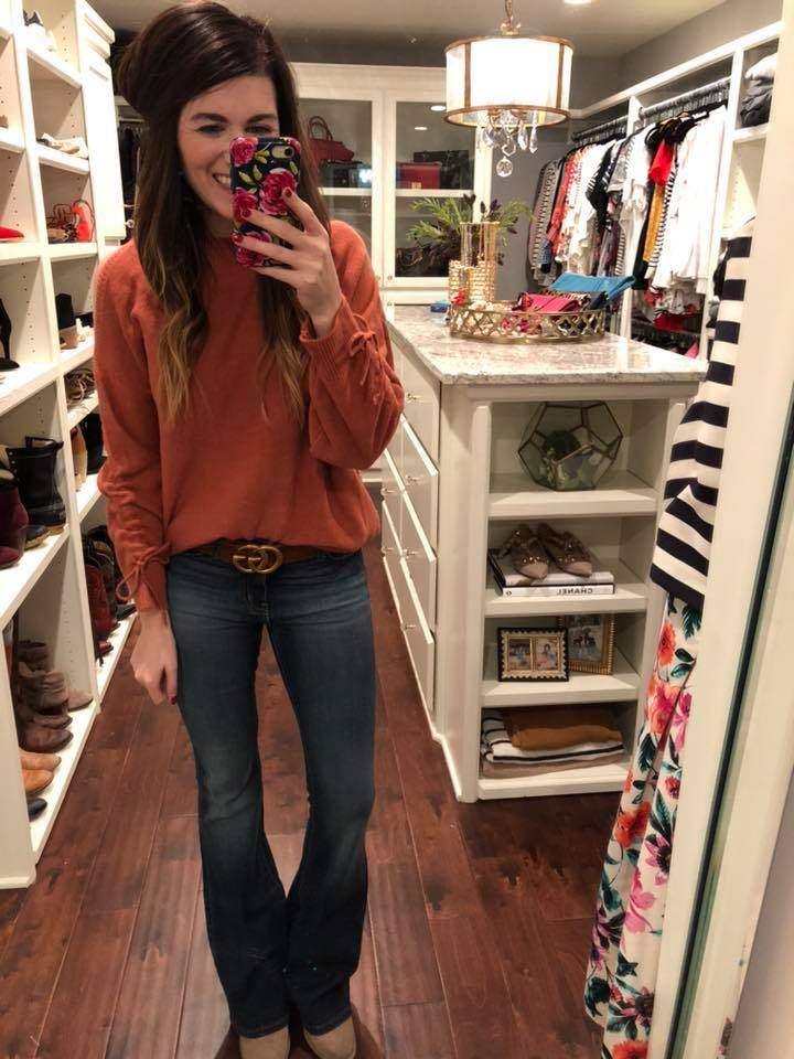 Whistler Cold Shoulder Sweater in Rust