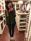 Knit Girl Criss Cross Sweater in Olive