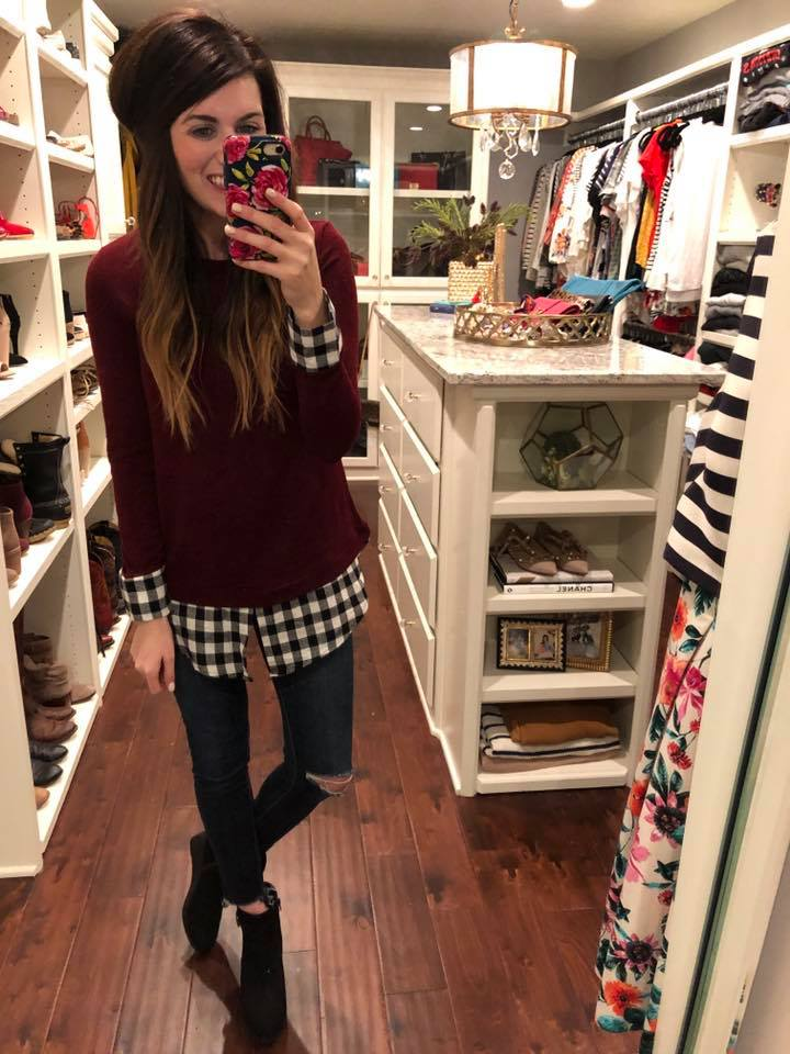 Lumberjack Top in Burgundy