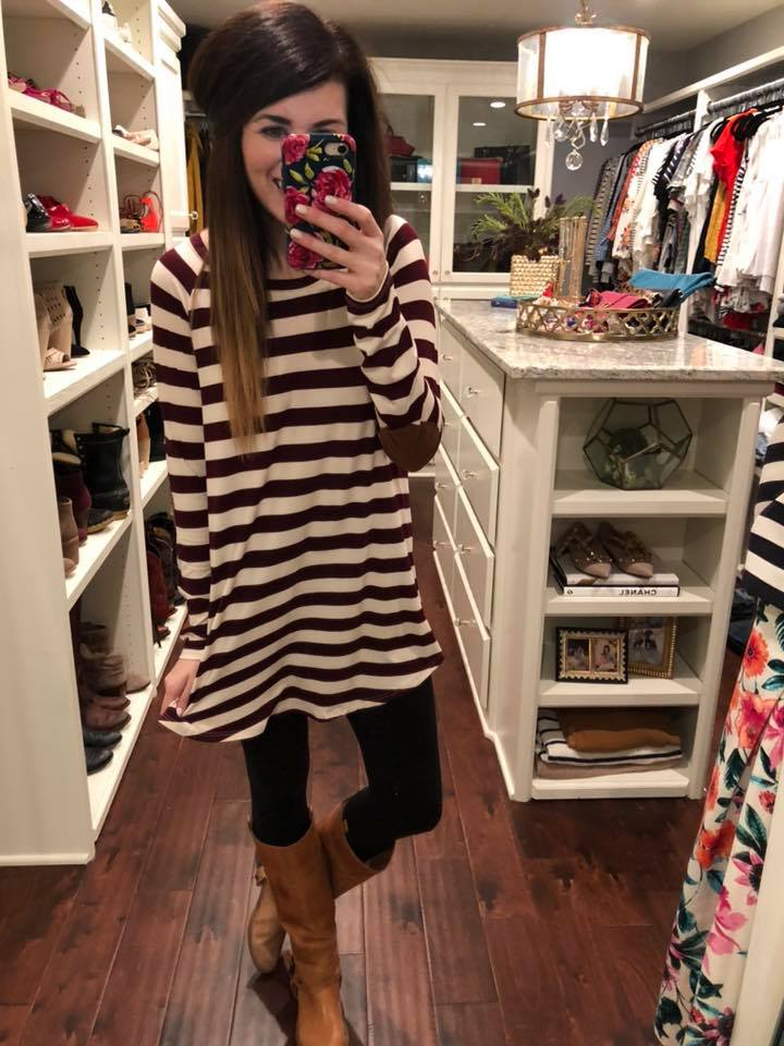 Lizzie Tunic in Burgundy and Olive