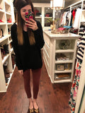 Knit Girl Criss Cross Sweater in Black