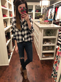 SALE! Jemma Navy and White Plaid Button Down
