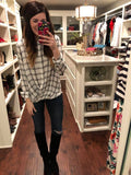 Foster Crossover Plaid Top in White/Black