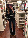 Spencer Striped Sweater in Black