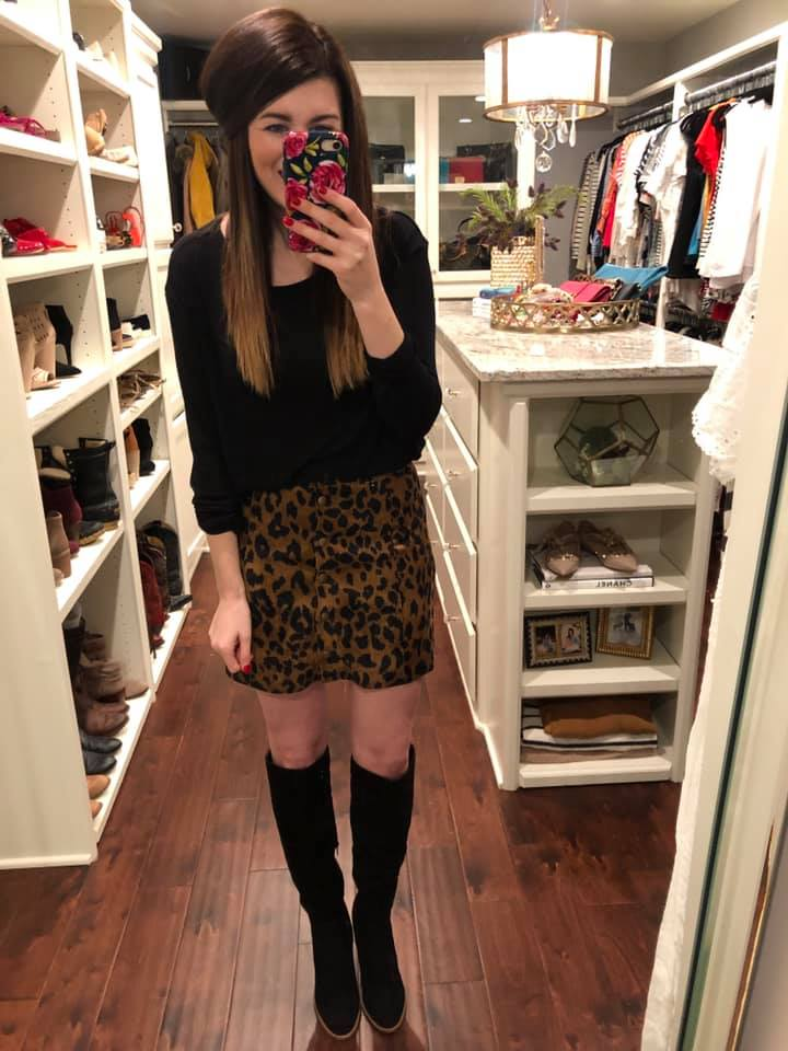 Make a Scene Leopard Button Front Skirt