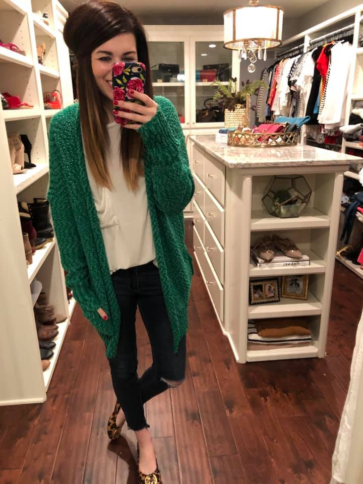 Cabin Crushing Cardigan in Kelly Green