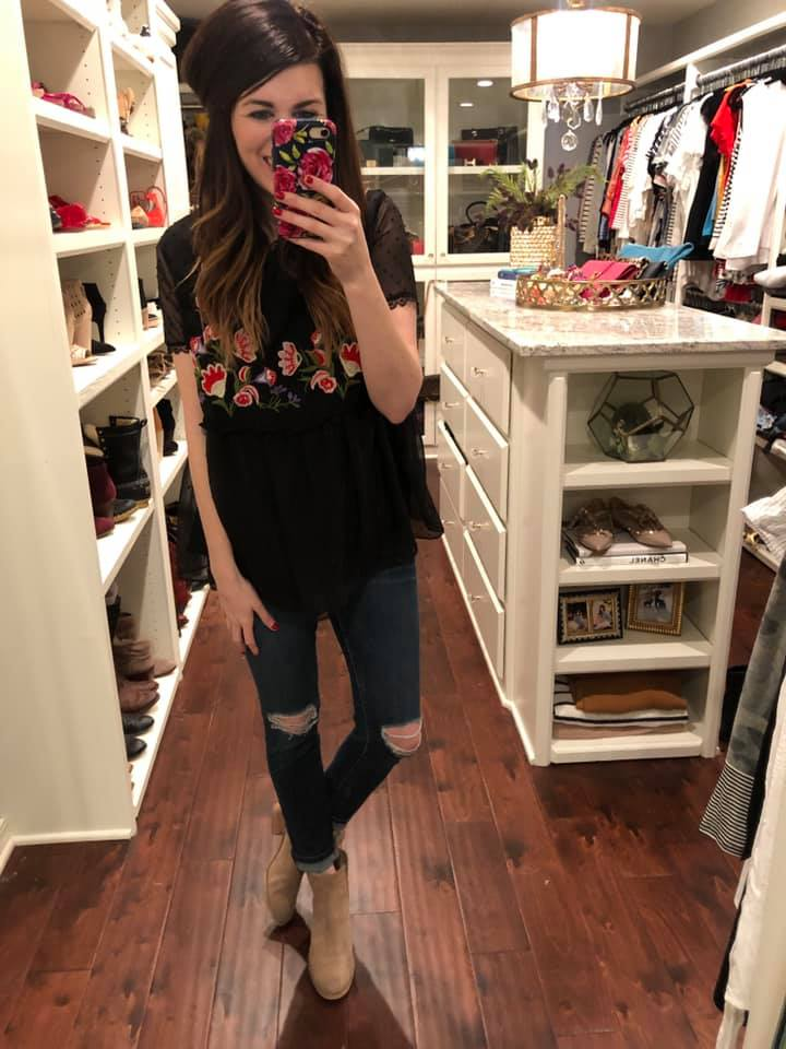 Sabrina Embroidered Top