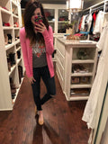 Button Cardigan in Black, Light Pink, and Hot Pink