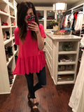 *BELLES & STEALS* Hettie Peplum Top in Hot Pink
