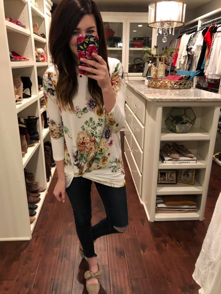 Eva Floral Twist Front Top in White