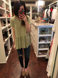 *BELLES & STEALS* Hettie Peplum Top in Sage