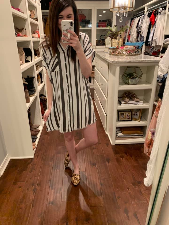 Eleanor Striped Tunic in Black