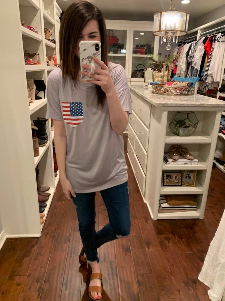 *BELLES & STEALS* Flag Pocket Tee in White and Gray