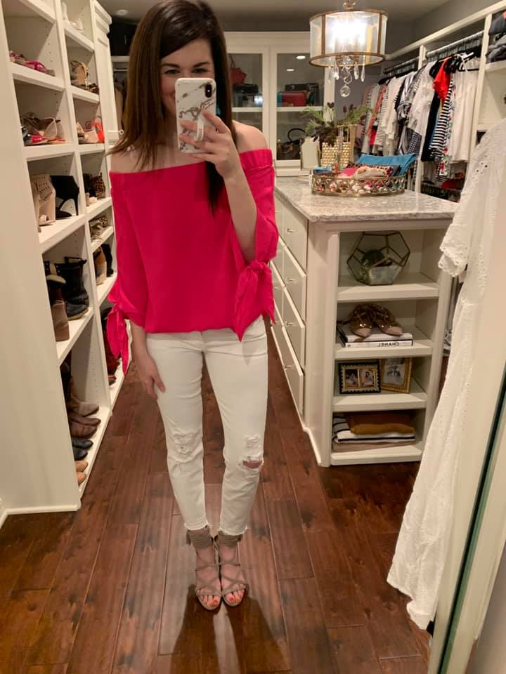 Island Rhythm Off-the-Shoulder Top in Hot Pink
