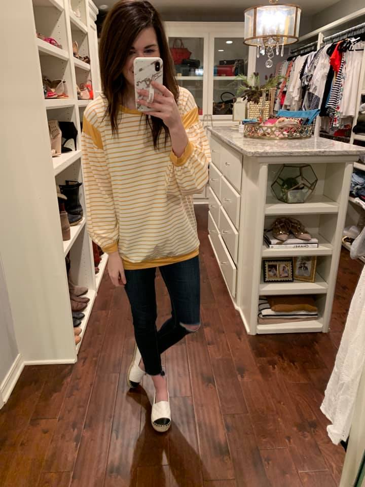 Calista Striped Tunic in Mustard