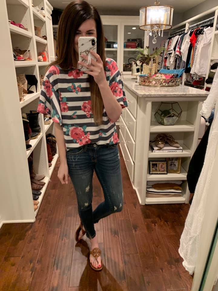 Riley Floral and Stripe Top