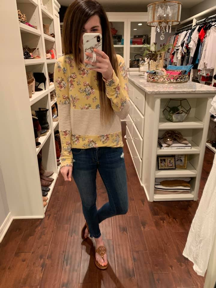 Tandi Floral Top in Yellow and Pink