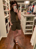 New Thrills Romper in Olive