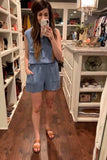 New Thrills Romper in Denim