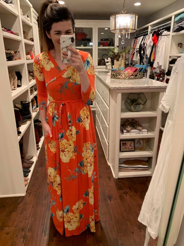 SALE! Ivy Floral Maxi Dress in Coral