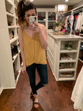 Ellie Basic Twist Front Tank in Mustard, Green, and Salmon