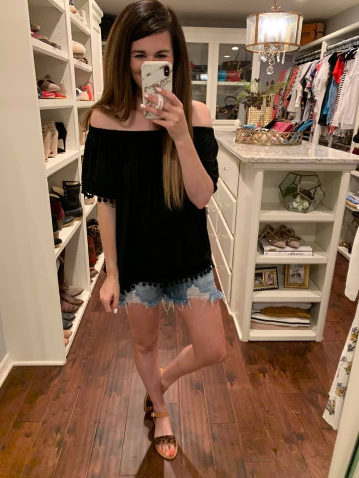 Phara Pom Pom Top in Black