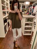 Phara Pom Pom Top in Olive