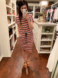 Easy Charm Drawstring Waist Dress in Stripes