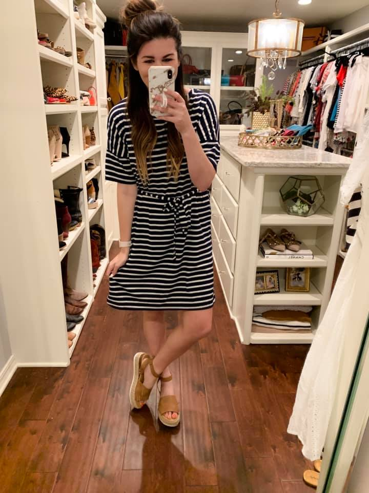 Gentry Striped Dress in Navy