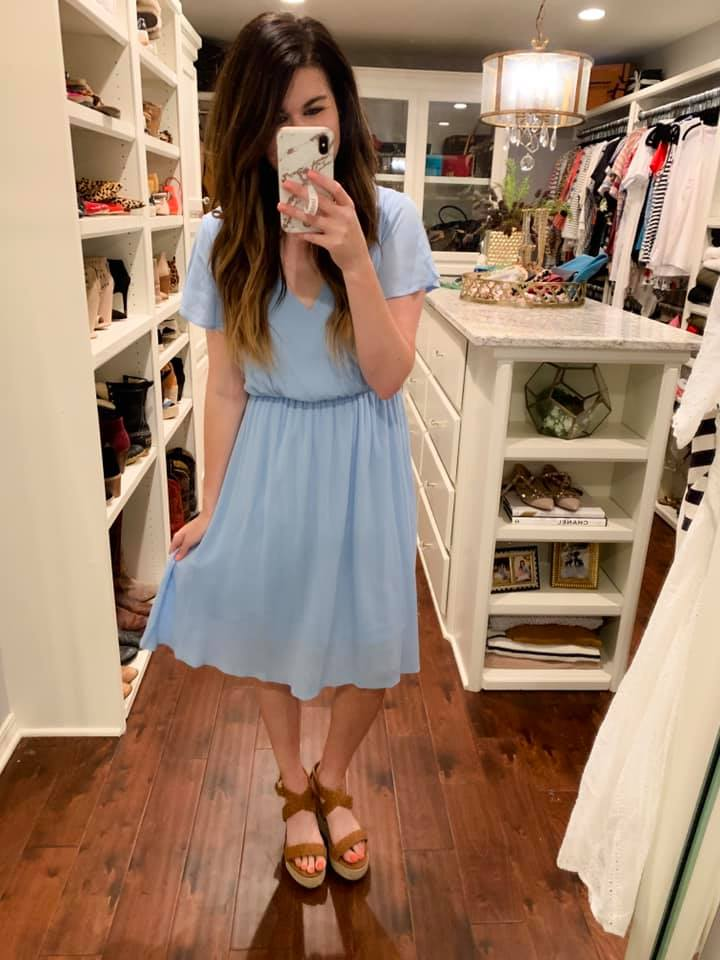 Shea Solid Midi Dress in Blue