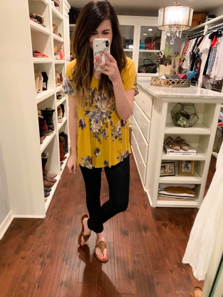 Blakely Peplum Top in Mustard Floral